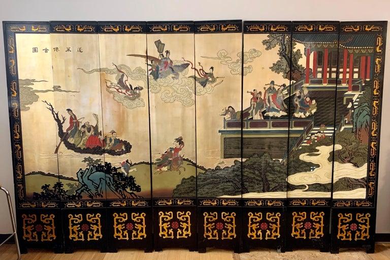 Stunning, eight-panel Asian Coromandel screen where each panel measures 16