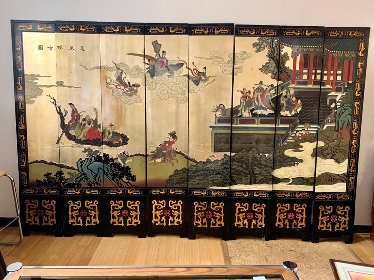 Chinoiserie Large Eight-Panel Asian Coromandel Screen Room Divider Painting Work of Art For Sale