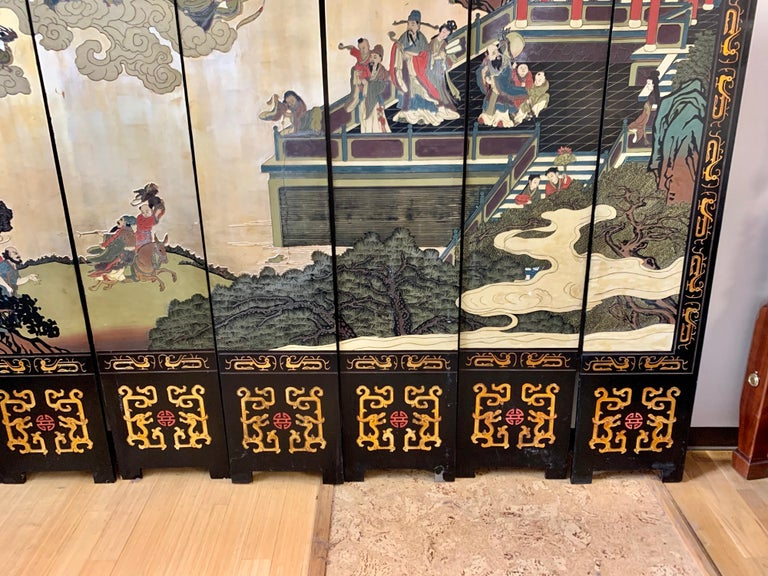 Chinese Large Eight-Panel Asian Coromandel Screen Room Divider Painting Work of Art For Sale