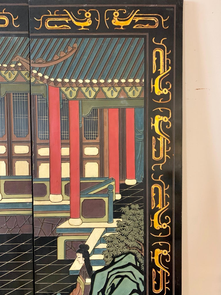 Large Eight-Panel Asian Coromandel Screen Room Divider Painting Work of Art In Good Condition For Sale In West Hartford, CT