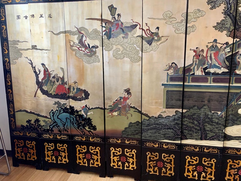 Mid-20th Century Large Eight-Panel Asian Coromandel Screen Room Divider Painting Work of Art For Sale