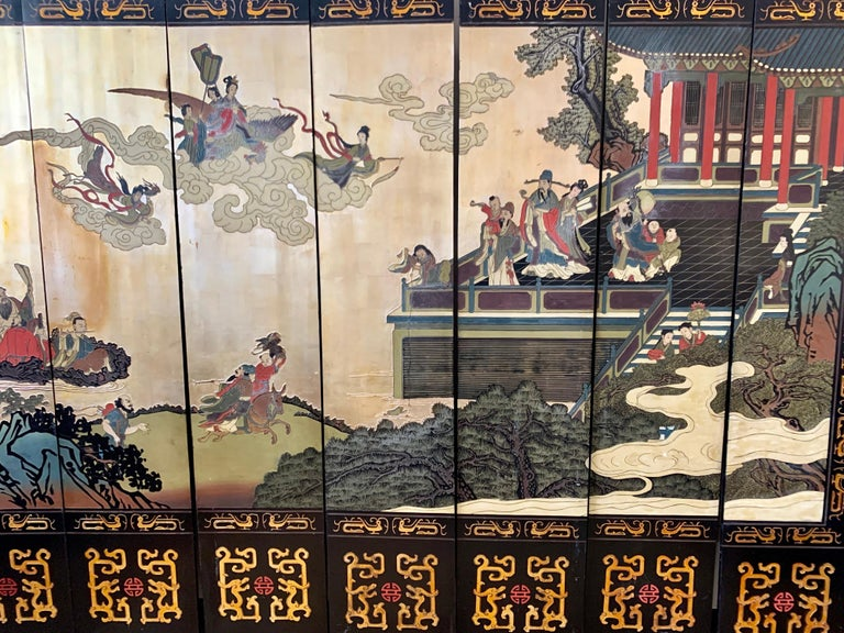 Wood Large Eight-Panel Asian Coromandel Screen Room Divider Painting Work of Art For Sale