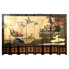 Large Eight Panel Asian Coromandel Screen Room Divider Painting Work of Art