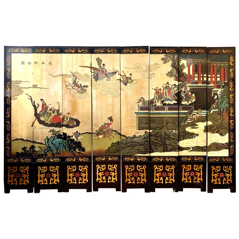 Large Eight-Panel Asian Coromandel Screen Room Divider Painting Work of Art For Sale