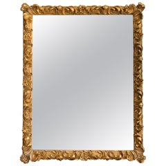 Large Elaborate Continental Giltwood and Gesso Mirror