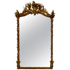 Large Elaborate French Rococo Gilt Console Mirror Decorated with Leaves and Bird