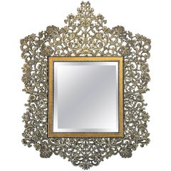 Large Elaborate Stencil Cut Metal Mirror