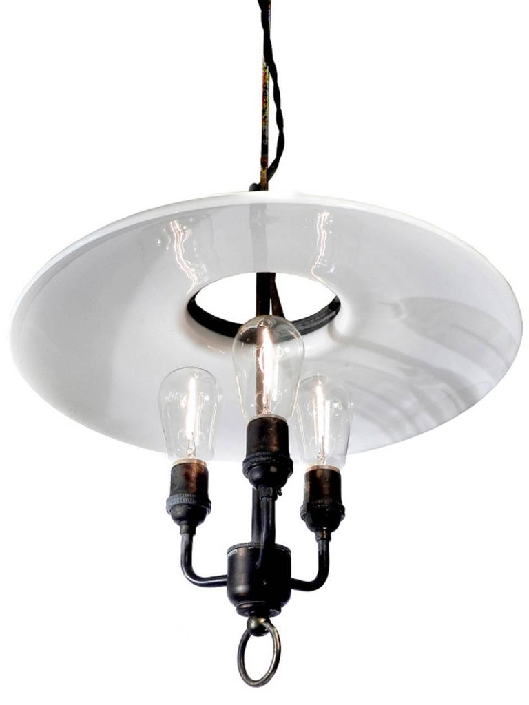 Industrial Large Electrified Milk Glass Lamps For Sale