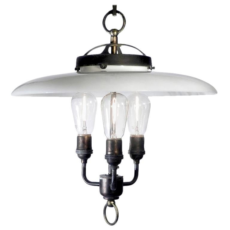 Large Electrified Milk Glass Lamps For Sale
