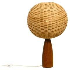 Large Elegant 1960s Danish Teak Table Lamp with a Modern Wicker Lampshade