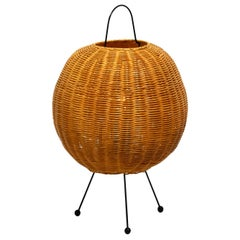 Large Elegant 1960s Tripod Table Lamp with a Large Wicker Lampshade