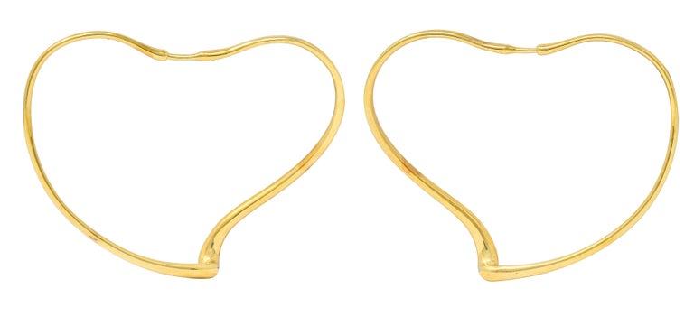 Contemporary Large Elsa Peretti Tiffany & Co. 18 Karat Gold Open Heart Hoop Earrings For Sale