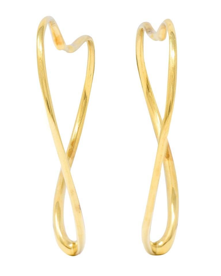 Women's or Men's Large Elsa Peretti Tiffany & Co. 18 Karat Gold Open Heart Hoop Earrings For Sale