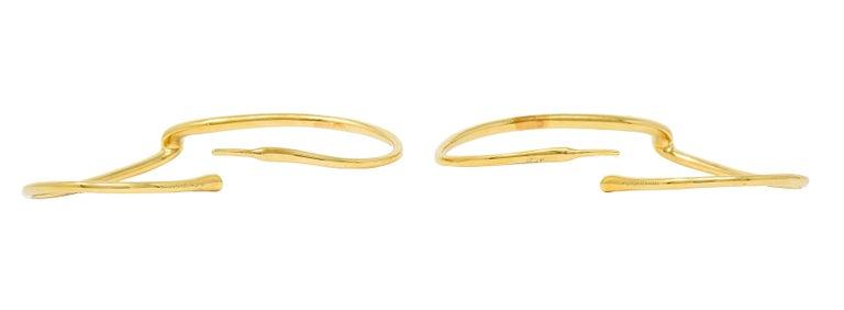 Large Elsa Peretti Tiffany & Co. 18 Karat Gold Open Heart Hoop Earrings For Sale 2