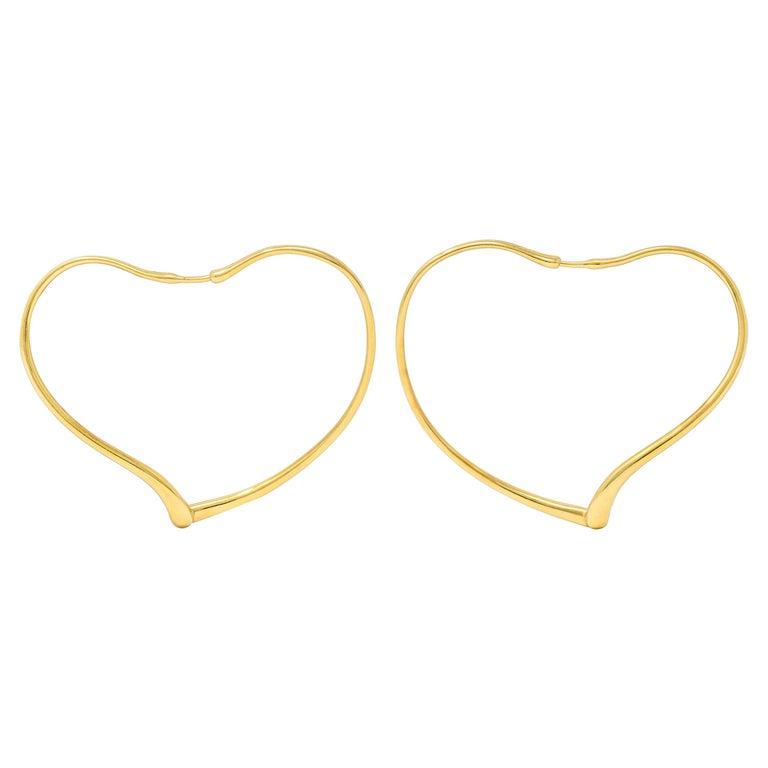 Large Elsa Peretti Tiffany & Co. 18 Karat Gold Open Heart Hoop Earrings For Sale