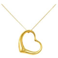 Large Elsa Peretti Tiffany & Co. 18 Karat Gold Open Heart Pendant Necklace