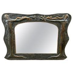 Large Embossed Arts & Crafts Copper Wall Mirror with Stylized Nymph Sculptures
