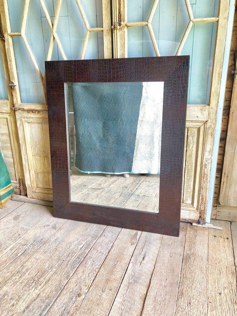 Modern Large Embossed-Leather Framed Mirror For Sale