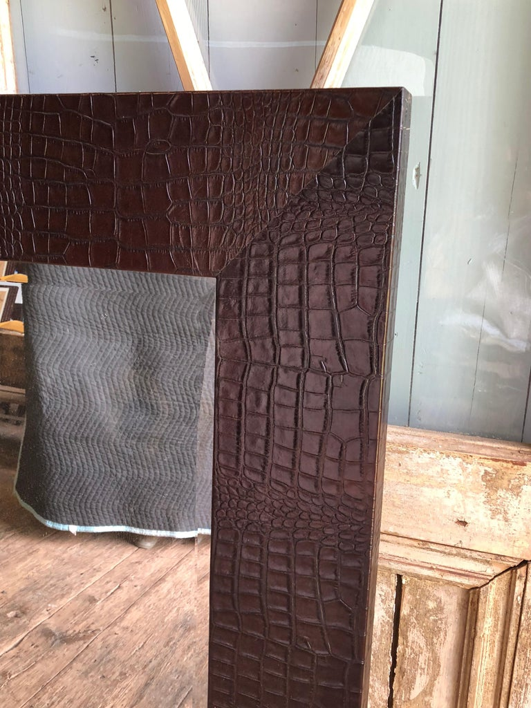 American Large Embossed-Leather Framed Mirror For Sale