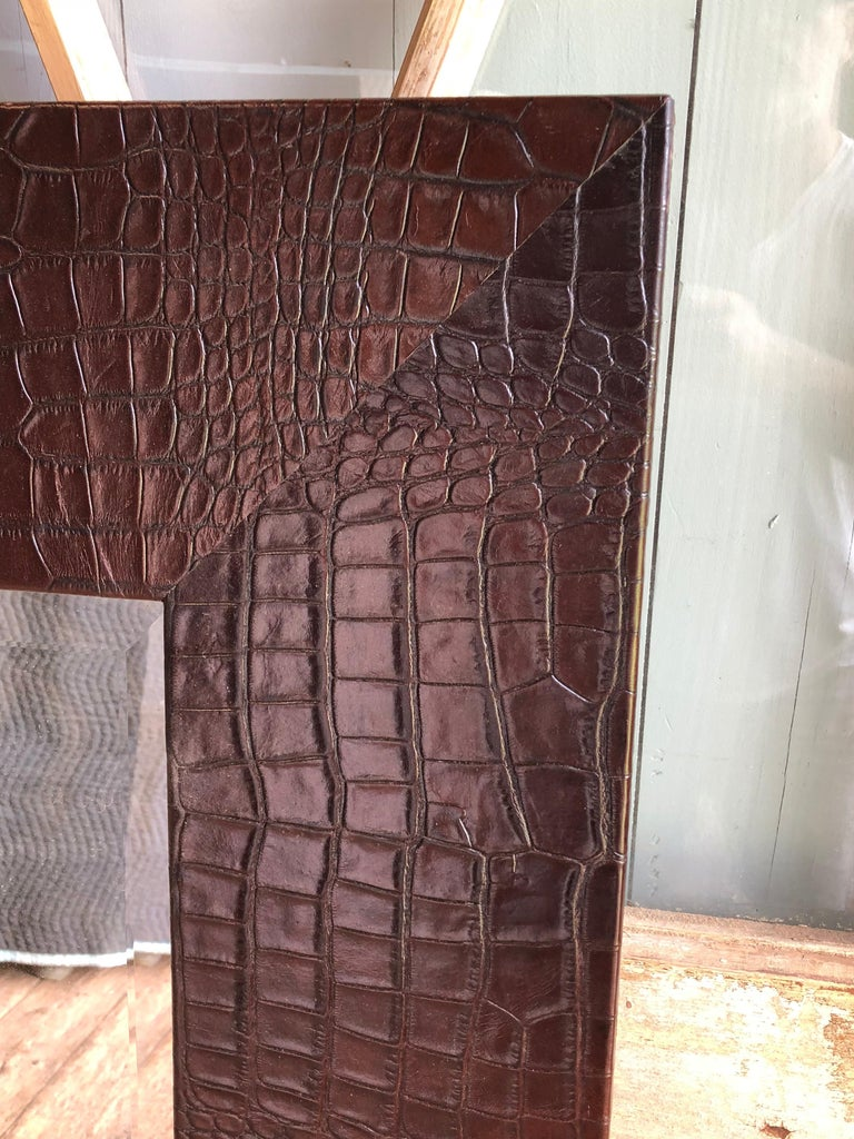 Large Embossed-Leather Framed Mirror In Excellent Condition For Sale In Doylestown, PA