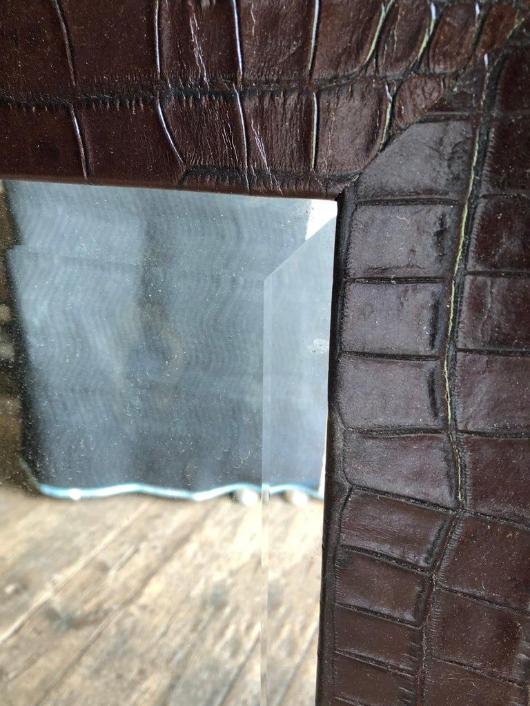 20th Century Large Embossed-Leather Framed Mirror For Sale