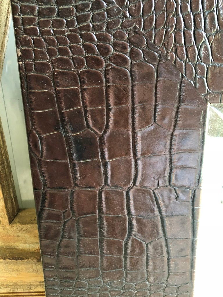 Large Embossed-Leather Framed Mirror For Sale 1