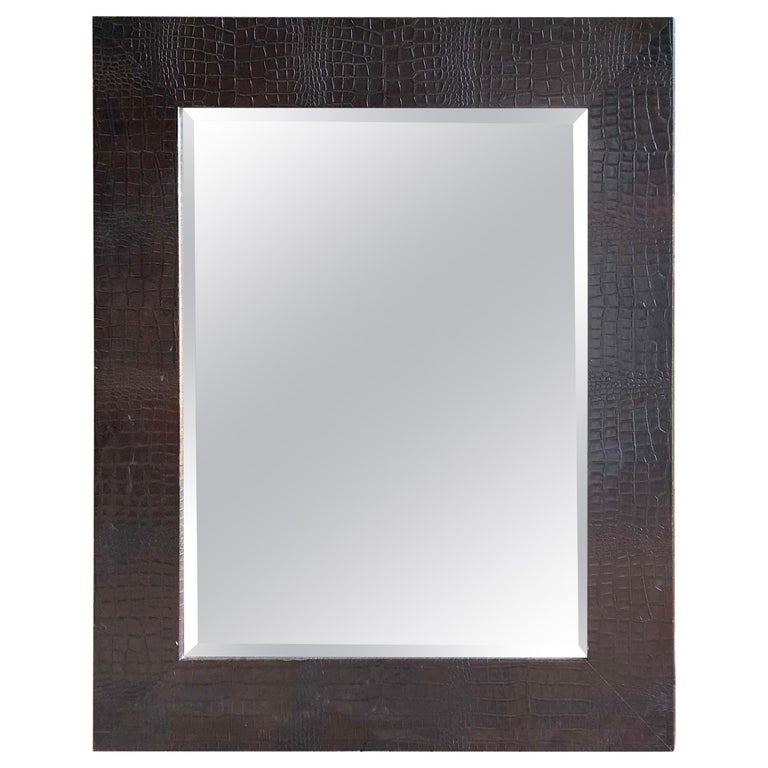 Large Embossed-Leather Framed Mirror For Sale