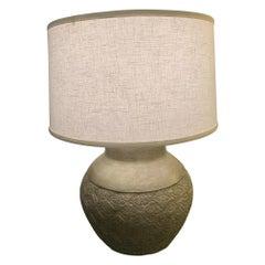 Large Embossed Metal Round Table Lamp