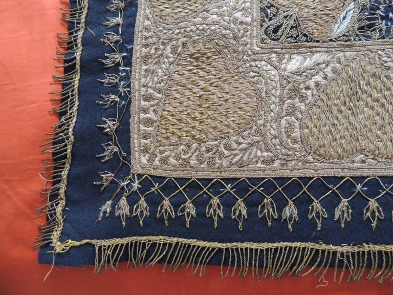 Hand-Crafted Large Embroidered Black and Gold Persian Cloth/Tapestry For Sale