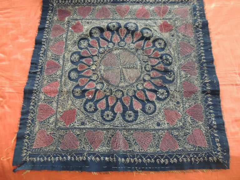 Large Embroidered Black and Gold Persian Cloth/Tapestry For Sale 1