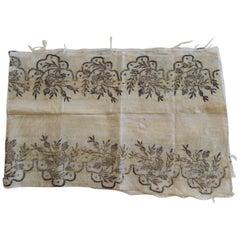 Large Embroidered Silver Metallic Threads Turkish Textile