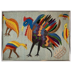Large Embroidered Turkey Wall Hanging