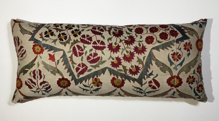 Beautiful pillow made of hand embroidery silk on a cream color cotton background, colorful motifs of vine and flowers ,new down and feathers insert, fine backing .