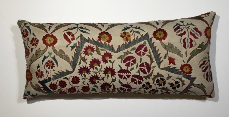 Large Embroidery Suzani Pillow For Sale 3