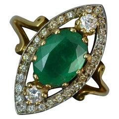 Large Emerald Diamond 18 Carat Gold Navette Cluster Ring