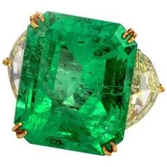 Large Emerald Fancy Yellow Half Moon Diamond 18 Karat Platinum Cocktail Ring