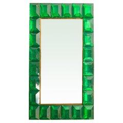Large Emerald Green Diamond Murano Glass Mirror, in Stock
