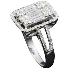 Large Emerald Illusion Diamond Bridal Ring in 18 Karat Gold