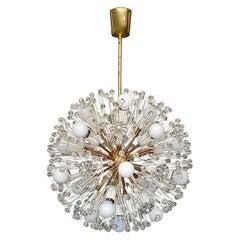 Large Emil Stejnar Dandelion Chandelier White Brass Crystal Glass Flowers, 1950s