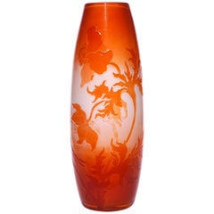 Large Emile Galle Fire Polished Floral Art Nouveau Vase