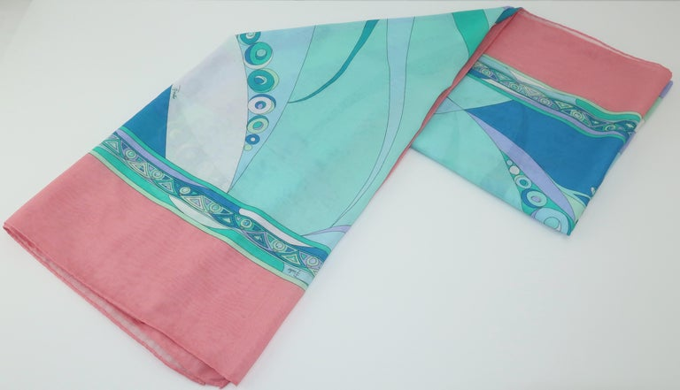 Large Emilio Pucci Cotton Sarong Length Scarf For Sale 5