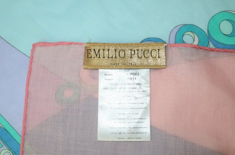 Large Emilio Pucci Cotton Sarong Length Scarf For Sale 8