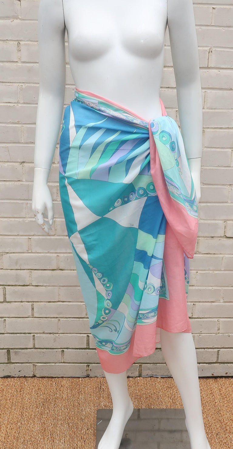 Gray Large Emilio Pucci Cotton Sarong Length Scarf For Sale
