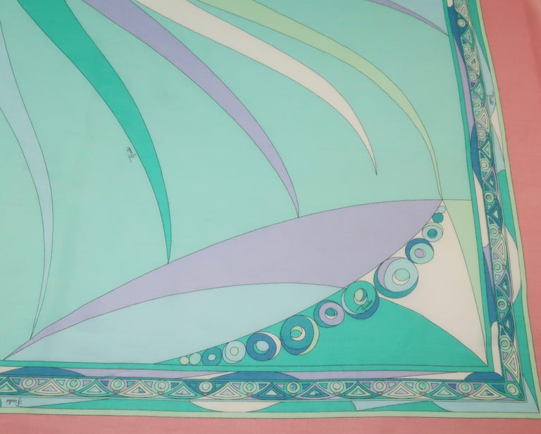 Large Emilio Pucci Cotton Sarong Length Scarf For Sale 1