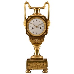 Large Empire Bronze Gilded Vase Mantel Clock, France, circa 1810