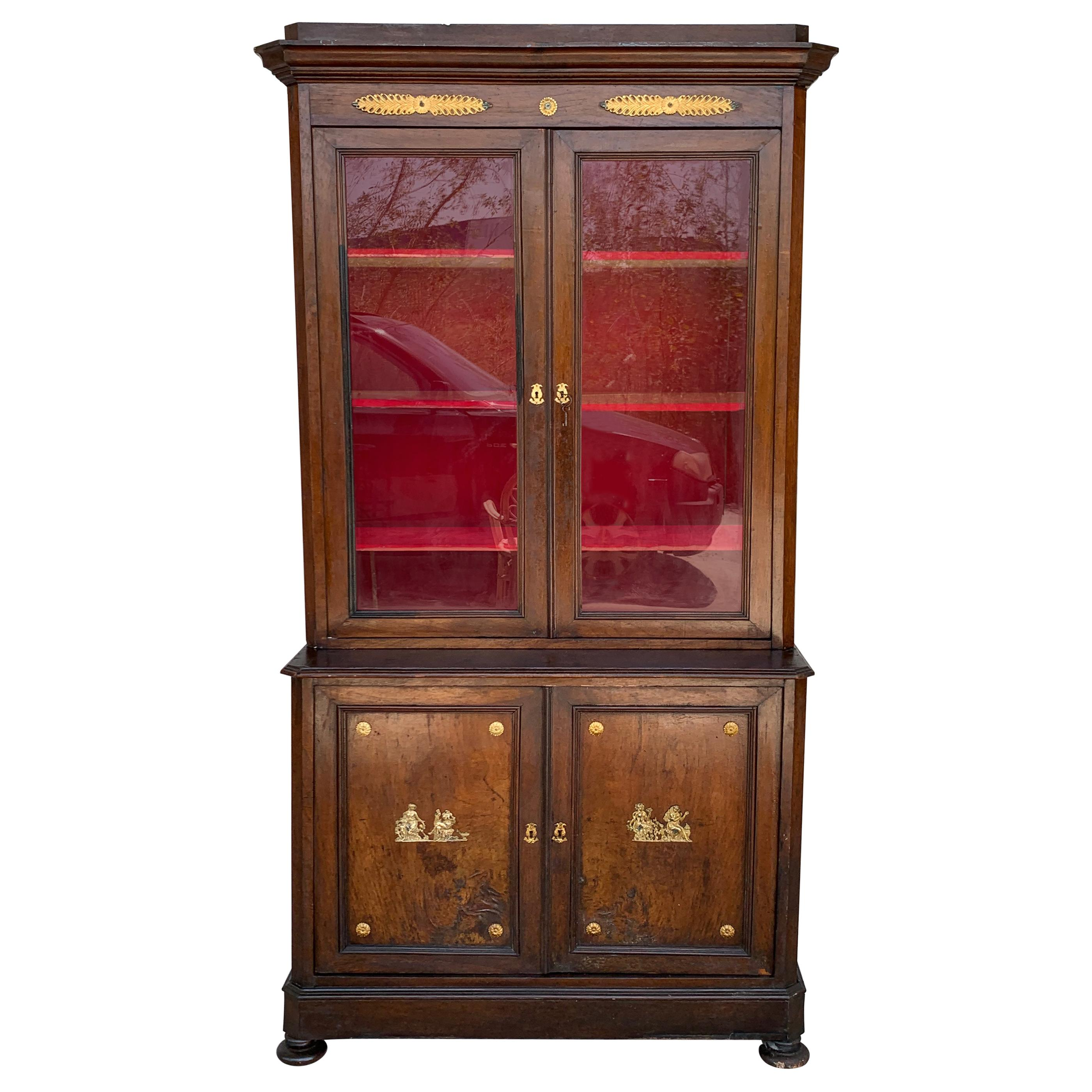 Large Empire Danish Glass Cabinet, Bookcase in Mahogany with Bronze Details