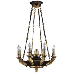 Large Empire Lacquered Metal and Gilt Bronze Chandelier