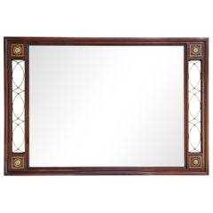 Large Empire Mahogany Mirror with Brass and Leather Accents