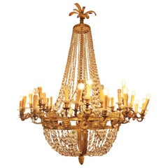 "Large Empire Style Chandelier ""Sac À Perles"""
