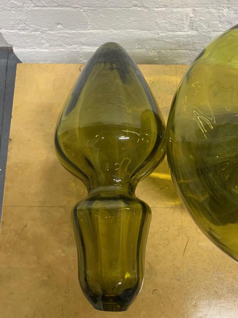 Italian Large Empoli Art Glass Decanter For Sale